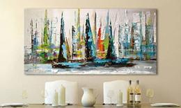 pintura a óleo abstrata paisagem africana Desconto Pintura a óleo pintada à mão Arte moderna na lona, veleiro abstrata (sem moldura)