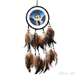 feathers oil painting Coupons - Wall Hanging Dream Catcher Oil Painting Wolf Totem Manual Weave Fashion Creative Room Parties Decor 8ms bb