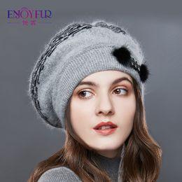 334d2dd64041d acrylic beret hat Promo Codes - ENJOYFUR Panelled Winter Hats Women  Cashmere Rabbit Knitted Hat Female