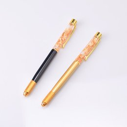 Wholesale Gold Tattoos Permanent - 24k Gold Flow Fountain Manual Pen Aluminum Alloy Eyebrow Tattoo Pen Permanent Makeup Tattoo Pen Beauty Product