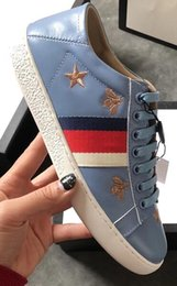 Wholesale Star Printed - 2018 summer spring newest womens Luxury gold star Embroidery black white blue real Leather Loafers lace up low top fashion sneakers
