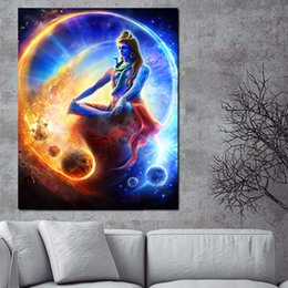 Discount religious art prints - Print Wall Indian Art Religious Buddha Portrait Shiva Lord Painting on Canvas  Poster Modern Picture For Living Room