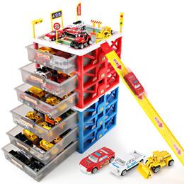 Spielzeug schublade box online-Mini Parkplatz Auto Spielzeug Schublade Kinder Spielzeug Aufbewahrungsbox Fall Auto Modell Carport Garage Spielzeug Kind Lernspielzeug