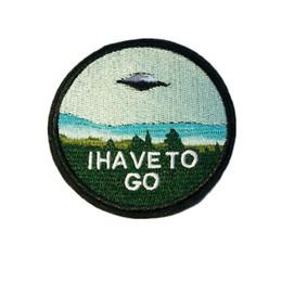 Pegatinas alienígenas online-8 CM Parche de bordado de costura de hierro en UFO Alien TENGO QUE IR Insignia Bolsa Jeans Sombrero Apliques Etiqueta engomada de DIY Decoración 8 cm