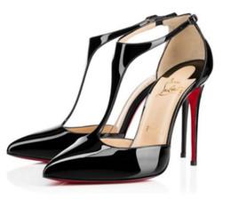Semelles rouges sexy en Ligne-Brand new sexy T-strap chaussures de mariage rouge semelle femmes pointu en cuir verni 12 cm talon aiguille robe à talons hauts robe à talons hauts fond rouge pompes