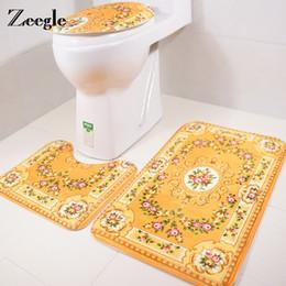 Wholesale foam baths - Zeegle 3pcs Memory Foam Bath Mats Non-Slip Home Carpet Decor Mat Decoration Pedestal Rug Toilet Lid Cover Toilet Accessories