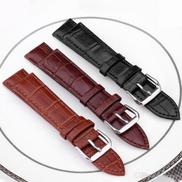 Argentina Venta al por mayor de fábrica Unisex moda slub en relieve Correa de la banda Empuje Aguja Hebilla Cuero 3 colores negro Marrón Bronceado Acero corchete 12mm ~ 24mm cheap 24mm black leather watch bands Suministro
