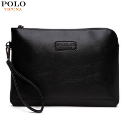 Wholesale Wallet Men Leather Large - VICUNA POLO Hot Sell Casual Mens Leather Envelope Clutch Bag Large Capacity Solid Black Clutches For Men Zipper Open Men Wallet