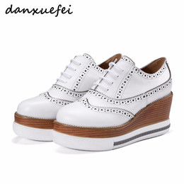 Wholesale Carved Wedge Shoes - Women's Genuine Leather Wedge Platform Lace-up British Carving Oxfords Brand Designer Leisure Brogues Espadrilles Shoes Women