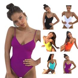 Maiôs de uma peça on-line-Sólidos Swimwear Para Mulheres Com Decote Em V Maiôs Sexy Biquíni Praia Roupas Bikini One Piece Set EUA Tamanho