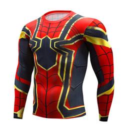 Camisas de manga longa de super-herói on-line-Luvas de fitness dos homens de mangas compridas T-shirt de treino de corrida de super-heróis Peter Parker ginásio apertado camisetas homem ciclismo Sportswear