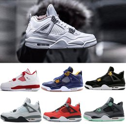 Wholesale Pure Leather Shoes For Men - Retro 4 Pure Money Men Basketball Shoes Alternate 89 11Lab4 White Cement Retro 4s Toro Bravo Fire Red Oreo Sport Sneakers For Youth