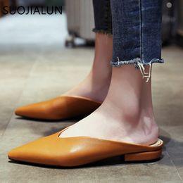 46e15cd92095 SUOJIALUN Women Flat Shoes Brand 2018 Fashion Mules For Women PU Leather  Pointed Toe Slip On Flip Flops Women Slipper