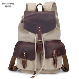 112e068ac5 YUPINXUAN Vintage Leather Canvas Backpack Men Women Mochila Escolar Back  Pack School Bag String Backpack Unisex Bagpack Rucksack