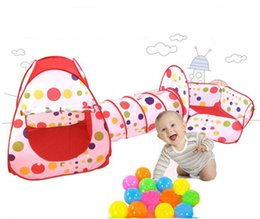 Wholesale Pool Houses - 3 In 1 Kids Toddler play station play house tent crawl tunnel pit balls pool baby toy tent