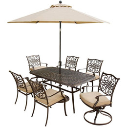 Wholesale Patio Garden Sets - Outdoor Garden Patio Furniture 8 Piece Traditions Deep Cushioned Dining Set with Umbrella