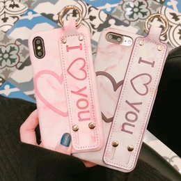 Wholesale Hard I Phone Cases - Stylish new marble leather texture I love you phone case for iphone X 7 7plus 8 8plus wrist strap hard back cover for iphone 6 6S 6plus