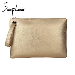 Wholesale luxury work bags - Samplaner Luxury Gold Clutch Bags For Women Envelope Bag Leather Female Wristlets Bag Big Capacity Solid Ladies Working Clutches