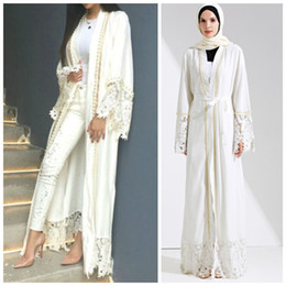 robe long muslim Promo Codes - Muslim Lace Maxi Dress Abaya Embroidery Cardigan Pearl Long Robes Tunic Kimono Jubah Middle East Ramadan Arab Islamic Clothing