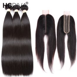 14 inch free part closure Promo Codes - 8a Mink Brazilian Straight Hair 3 Bundles with 2x6 Closure Brazilian Virgin Human Hair Closure For Black Women Lace Deep Middle Part Free