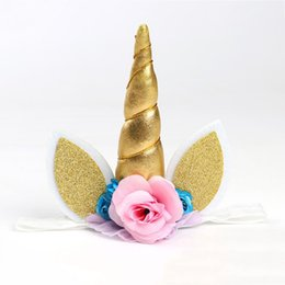 Wholesale Pink Hair Photos - Photo Prop Unicorn Flower Crown Headband party headband Magical Unicorn Floral Gold DIY Kit Horn