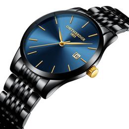 dc9e7b3072d Mens Relógios De Pulso marca de luxo preto azul ouro homem relógios de aço  inoxidável Ultra Fino calendário à prova d  água relógio dos homens  Originais ...
