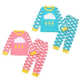 2019 camiseta de chuva Crianças conjuntos de pijama nuvem para 1-6 T 2 cores nuvens chuva relâmpago padrão de manga longa camiseta + calças meninos meninas bonito homewear conjuntos camiseta de chuva barato