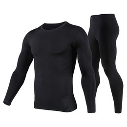 Wholesale fleece lined shirt l - Men's Fleece Lined Thermal Underwear Set Motorcycle Skiing Base Layer Winter Warm Long Johns Shirts & Tops Bottom Suit