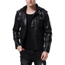 Canada AOWOFS Bomber Jacket pour les hommes en cuir motard vestes en cuir Multi-Pocket Black Hommes vestes en cuir manteaux blousons en cuir 5XL J181138 cheap pocket motors Offre