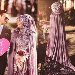 вечернее платье хиджаб Скидка Высокая шея Саудовской Аравии арабский вечерние платья с плащ мыса хиджаб Исламский платье шифон Дубай кафтан
