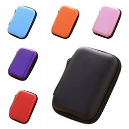 Wholesale Office Card Stock - 12x8x4cm Black Fiber Zipper 7 Colors Earphone Earbuds Hard Case Storage Carrying Pouch Bags SD Card Hold Box