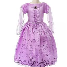 Roupas roxas para crianças on-line-Crianças do dia das bruxas Cosplay Traje Vestidos Roxo Tangled Rapunzel Vestido de Princesa Crianças Do Bebê Meninas Vestido de Festa de Formatura XMAS Roupas HH7-41