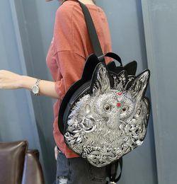 Wholesale Stereoscopic Bag - sales handbag fashion personality stereoscopic 3 d womens backpack quality leather fox head leather handbag trend joker punk shoulder bag