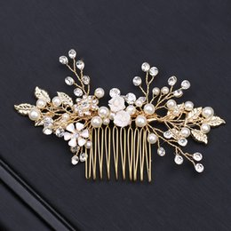 Discount stainless steel horn - Bride's hair combs wedding photo articles pure handmade pearl crown
