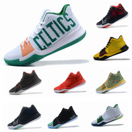 Wholesale Cheap Grey Boots - 2017 New Kyrie Irving 3 Basketball Shoes for Cheap Sale Sneakers Sports Mens Shoe Wolf Grey Team Red Outdoor Trainers BasketBall Boots