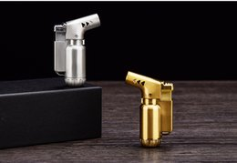 Wholesale Portable Butane Gas - +AAAAA metal Butane gas Lighter Windproof flame torch dab metal Refillable cigarette cigar Lighter Micro Culinary Torch portable for travel