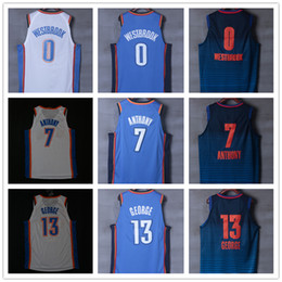 Wholesale Oklahoma City - CITY EDITION 2018 New Authentic oklahoma city Basketball Jersey Men Jerseys 7 carmelo Anthony 13 paul George 0 russell westbrook Jersey