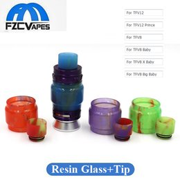 Wholesale Tube Bulbs - Bulb Epoxy Resin Glass Tube Plus Drip Tip Kit Replacement for SMOK TFV12 Prince Tank In Stock