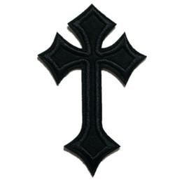 Patch bordado preto jesus cruz costurar ferro em patches bordados emblemas para bag jeans chapéu camiseta diy apliques artesanato decoração de