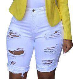 2019 frauen-sommer-leggings Frauen Casual feste Denim Röhrenjeans Weibliche Loch Leggings Zerstört Bermuda Shorts Jeans Hosen Frauen Mit Hoher Taille Sommer günstig frauen-sommer-leggings