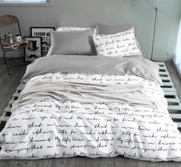 Wholesale King Grey Bedding Sets - Wholesale-letter Printing Duvet Cover Sets King Activity Bedding sets RU USA Size,Quilt cover Sheet Set Bedroom Bedding Bed Linen Grey