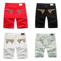 Wholesale Denim Shorts 38 - Men's Distressed Ripped Biker Jean shorts fashion designer Motorcycle Biker Denim pants Hip Hop Mens clothing JS37