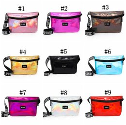 Wholesale fanny pack purse - Laser Pink Letter Fanny Pack 9 Colors Waist Belt Bag Fashion Beach Purse Bags Shiny Waistpacks Waterproof Cosmetic Bag EEA479 22pcs