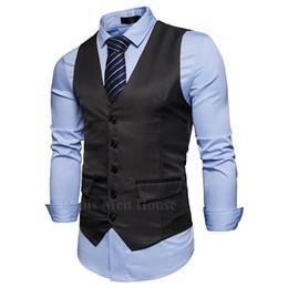 Wholesale Hooded Vest Dress - 2018 men Fall Slim Fit High-end Business suit vest Male leisure V-neck vest groom dress Black Charcoal formal vests