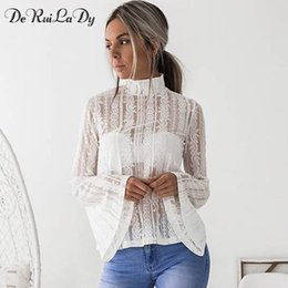 Wholesale White Shits - DeRuiLaDy 2017 Women Lace Blouse Shirt Elegant Flare Sleeve Long Sleeve Sexy Transparent Shits Casual Stand Chiffon White Tops