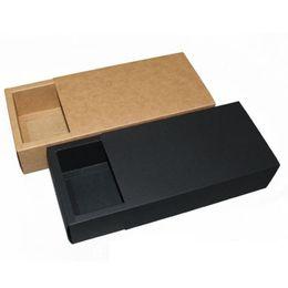 Cajonera negra online-14 * 7 * 3 cm Negro Beige Cajón Caja de Embalaje Regalo Pajarita Embalaje de Papel Kraft Carft Cajas de Cartón ZA6404