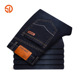 Wholesale Denim Business Casual - Casual Classic Jeans Pants Men Fashion Business Straight Slim Fit Jean Mens Denim Pants Long Trousers Male Black Blue Size 28-42