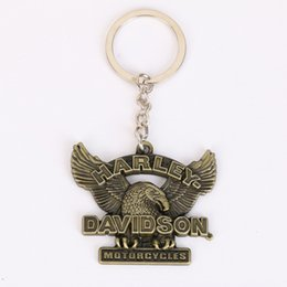 Wholesale Motorcycle Gift Metal - Wholesale Harley Eagle motorcycle key chain, pendant metal keychain, creative accessories personalized small gifts, 2 colors, free shipping