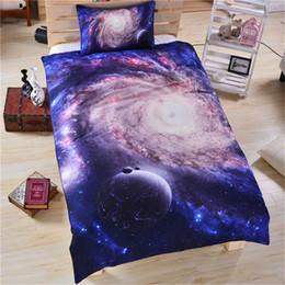 le stelle della luna fissano le biancheria da letto Sconti 3D Galaxy fashion Set di biancheria da letto Moon Star Set di copripiumini Federa Universo Space Space Twin Queen King Size lenzuola blu