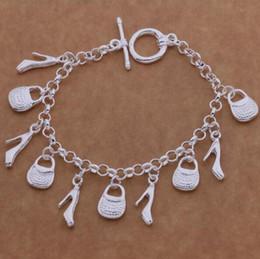 2019 schuh armband charme 925 Sterling Silber Modeschmuck Charms Tasche Schuhe Frauen Damen Armband Charms Tasche Schuhe Armband Kette günstig schuh armband charme